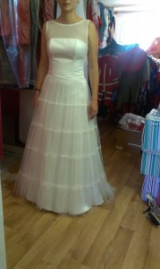 Svadobné šaty s riasenou sukňou